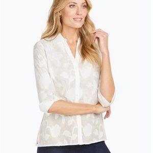 Foxcroft floral jacquard blouse